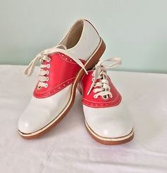 Retro Red & White Saddle Shoes Swing Rockabilly Lace Up Rock Around The Clock! | eBay