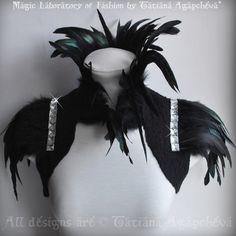 The amazing Empress Coque Feathers Fringe Collar and Sleeves (TianaCHE: Tatiana Agapcheva - Ufa, Moscow, New York, Paris)