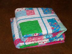 """Handmade OH HAPPY DAY Twin Girls Ric Rac Quilt 62"""" x 83"""" Ready to Ship - Custom Order Available - by Myra Barnes of Busy Hands Quilts"""