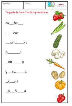 Comparto dos fichas para trabajar la fuga de letras con el vocabulario del material escolar y frutas y verduras. Estas tareas son interesantes para trabajar