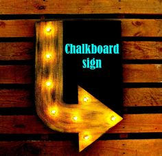 Chalkboard Arrow Marquee Sign Custom Painted Arrow One Color or Two Colors, Light Up, Home Décor, Boutique, Restaurant, Bedroom, Birthday