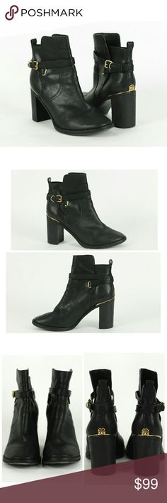 "Tory Burch black leather ankle boots Size 7.5M. Tory Burch black leather ankle boots. Feature buckle closure at side with crisscross straps and signature Tory Burch medallion on the back.  Gold tone hardware. Chunky stacked heels measure approx 3"" in the back. Leather upper, lining and sole. Made in Brazil. Gently used with some wear on soles and heels. Really great condition above soles. Tory Burch Shoes Ankle Boots & Booties"