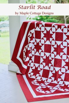 NEW - Starlit Road Quilt Pattern PDF. Enjoy making this beautiful & easy Red & White Quilt Pattern featuring star paths crossing at every turn. There is just something about red & white quilts. Pinwheel Quilt Pattern, Baby Quilt Patterns, Owl Patterns, Sewing Patterns, Two Color Quilts, Christmas Quilt Patterns, Red And White Quilts, Quilt Of Valor, Patriotic Quilts