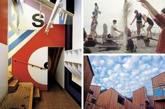 Clockwise from left: the Pop graphics of the Moonraker Recreation Center, built in 1966; workshop participants making model cities out of driftwood on the beach in 1968; modernist wooden exteriors at the Sea Ranch.