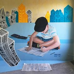 """""""Every child is an artist. Every house is a canvas."""" TAPE OVER CREW in Berlin produced this phenomenal mixed media wall art using paint and IPG masking tape! See more amazing tape art at www. Sculpture Art, Sculptures, Linear Art, Tape Art, Media Wall, Masking Tape, Berlin, Mixed Media, Canvas"""