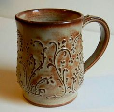 Great Usage of Slip-trailing Amanda Larsen Wells Pottery Mugs, Ceramic Pottery, Pottery Art, Ceramic Cups, Ceramic Art, Pottery Designs, Pottery Ideas, Clay Mugs, Pottery Techniques