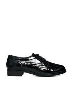 Image 1 ofLondon Rebel Barnaby Brogue Lace Up Flat Shoes