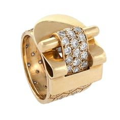 Van Cleef & Arpels Ludo Hexagone Diamond Gold Ring | From a unique collection of vintage cocktail rings at https://www.1stdibs.com/jewelry/rings/cocktail-rings/