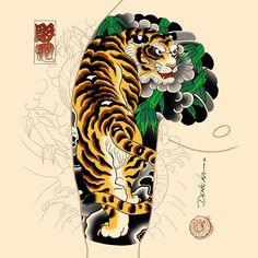 Japanese Tiger Tattoo, Japanese Tattoo Designs, Japanese Sleeve Tattoos, Asian Tattoos, Old Tattoos, Tattoo Oriental, Japan Tattoo Design, Dibujos Tattoo, Bamboo Tattoo