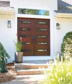 Mid-century Modern Double Doors - Contemporary - Front Doors - grand rapids - by ODL, Inc Contemporary Front Doors, Modern Front Door, Double Front Doors, Modern Entryway, Front Door Design, Entryway Ideas, Door Ideas, Double Doors Entryway, Mid Century House