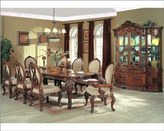 """9pc Formal Dining Set in Cherry MCFRD0017 by MCF Home Furnishings. $3429.80. 9pc Formal Dining Set in Cherry MCFRD0017 Includes: 1 x Dining Table MCFRD0017-DT 6 x Side Chair MCFRD0017-CS 2 x Arm Chair MCFRD0017-CA Dimensions: Dining Table ? 118""""W x 48""""D x 30""""H Dining Chair ? 26""""W x 22""""D x 45""""H Arm Chair ? 26""""W x 24""""D x 45""""H"""