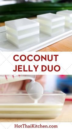 Coconut Jelly Duo วุ้นกะทิ Beautiful summer dessert recipe with layers of coconut water jelly alternating with coconut milk. It's a classic no-bake Thai dessert that is vegan, gluten free and delicious! Jelly Desserts, Jelly Recipes, Asian Desserts, Gelatin Recipes, Rice Cake Recipes, Chinese Desserts, Coconut Jello, Thai Coconut Pudding Recipe, Coconut Milk Desserts