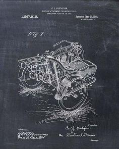 Motorcycle Sidecar Patent Print Patent Art Print by VisualDesign Sidecar, Wall Art Prints, Poster Prints, Patent Drawing, 6 Photos, Patent Prints, Chalkboard Art, Illustrations, Vintage Wall Art