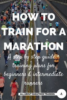 Want to train for a #marathon? Here is a step by step guide of what you need to do to make it to the starting line and finish line of the marathon. Plus there are free marathon training schedule options for beginners and intermediates. Custom training plans are also available! #allaboutmarathontraining #marathontraining #run #runner