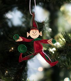 Christmas Ornament  - Elf Ornament in Red and Green $15.00
