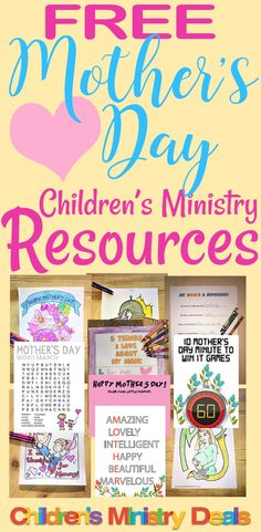 10 FREE Mothers Day Sunday School and Childrens Church printables Mothers Day Poems, Mothers Day Crafts, Happy Mothers Day, Crafts For Kids, Childrens Ministry Deals, Kids Ministry, Ministry Ideas, Kids Church, Church Ideas