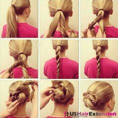 Loopy-Looking Bun - Make a loose rope/twist braid, just do a few twists pretty far down the ponytail. Secure with a rubber band. Wrap it like a normal bun, but don't twist too tight around the base of the ponytail for a fuller bun.