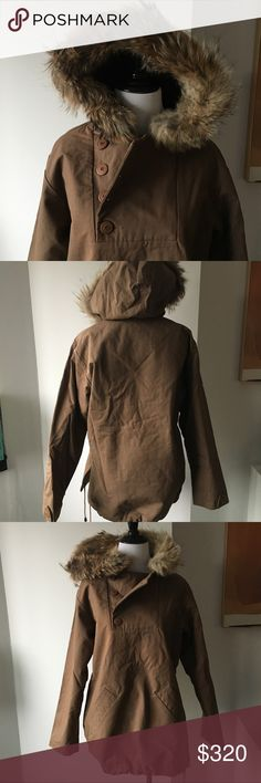 "A.P.C. Khaki army fur lined parka anorak coat XS Beautiful anorak by APC in XS. This was a sold out style and has very unique vintage feel. Length length from top of shoulders 26"", 20"" across chest.  In new condition. Wrinkled from sitting in my drawer but never worn! APC Jackets & Coats Utility Jackets"