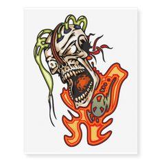 Cyborg Skull Insanity Temporary Tattoos