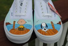 New Design Custom Hand Painted Mens Vans shoe Charlie Brown and Snoopy size note these are just a sample they are sold If you would like a custom pair of Vans or other sneakers just email me and we can start working on your design Disney Painted Shoes, Painted Canvas Shoes, Painted Vans, Painted Sneakers, Hand Painted Shoes, Canvas Sneakers, Custom Vans Shoes, Mens Vans Shoes, Custom Sneakers