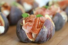 Rich figs, creamy goat cheese, and salty ham appetizer