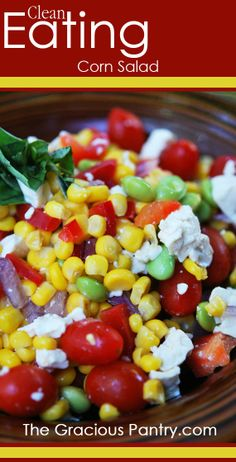 Clean Eating Corn Salad - looking for a corn salad recipe for supper. This looks healthy and yummy and should work with what I have on hand with just a few substitutions. Healthy Cooking, Healthy Snacks, Healthy Eating, Cooking Recipes, Healthy Corn, Vegetarian Recipes, Healthy Recipes, Corn Salads, Clean Eating Recipes
