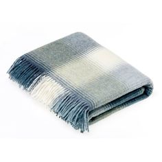 Bronte by Moon Shetland Wool Kilnsey Aqua Throw Blanket