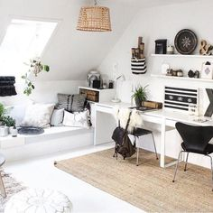 Gut Loft Office With White And Black Minimalist Decor And Skylight