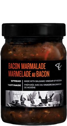 PC BLACK LABEL BACON MARMALADE SPREAD Use PC black label Bacon Marmalade Spread as the ultimate burger topper, or serve with sausage on a bun, grilled chicken or pulled pork sandwiches.