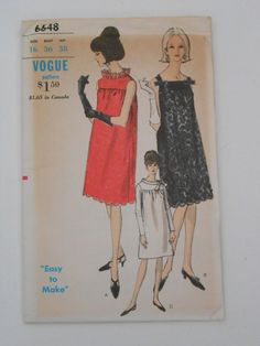 Vintage 60s Smock Dress Pattern Vogue 6648 Size 16 by lisaanne1960, $15.00 Pattern says maternity, but it still would be a great dress!