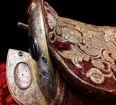 Embroidered parade saddle by Anonymous (Poland), mid-17th century, Toruń Regional Museum. #silverthread #velvet #gilt #gemstones #artinpl #silver #leather