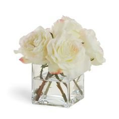 """CREAM WHITE ROSES 13"""" Wide – Winward Designs. The perfect hostess gift. Add a red ribbon around the glass to make it even more special."""