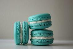 Tiffany Blue Coconut Buttercream French Macaron.