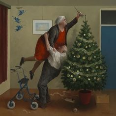 these two survived from last year and came back for another go. The wonderful Marius van Dokkum Dutch artist who is fab at painting 'old folk. Christmas Angels, Christmas Art, Vintage Christmas, Illustration Noel, Christmas Illustration, Old Couples, Norman Rockwell, Dutch Artists, Funny Art