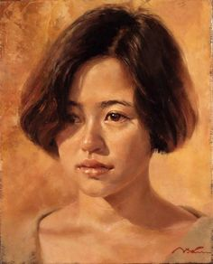 Artist: Misawa Hiroshi (三澤 寛志), oil on canvas {contemporary figurative art female head asian woman face portrait cropped painting Facial Expressions Drawing, Monochromatic Art, Animal Art Projects, Oil Portrait, Figure Painting, Painting Art, Paintings, Face Art, Woman Face