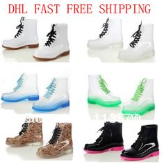 Factory price! 2013 PVC Transparent Womens Colorful Crystal Clear Flats Heels Water Shoes Female Rainboot Martin Rain Boots $20.90 - 29.00
