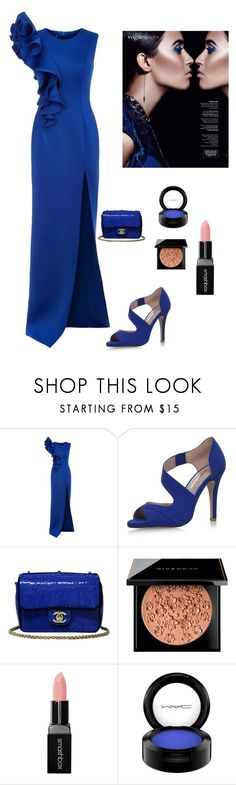 """""""Striking in Blue"""" by kotnourka ❤ liked on Polyvore featuring Jovani, Miss KG, Chanel, Givenchy, Smashbox and MAC Cosmetics"""