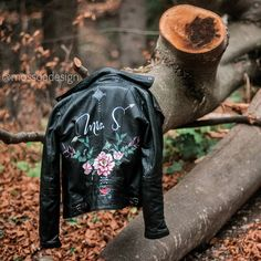 Hand painted leather Jacket by Painted Leather Jacket, Painting Leather, Boho Bride, Special Day, Bridal Jackets, Bomber Jacket, Unique, How To Wear, Hand Painted