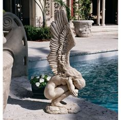 Design Toscano Remembrance and Redemption Angel Garden Statue Angel Garden Statues, Garden Angels, Urbane Kunst, Ange Demon, Art Watercolor, Angel Art, Oeuvre D'art, Garden Art, Drawings