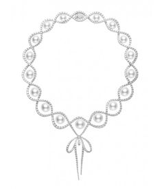 """Mikimoto """"Ribbon Necklace"""" Featuring White South Sea Cultured Pearls with of Diamonds Set in White Gold Cultured Pearl Necklace, Cultured Pearls, Pearl Jewelry, Pearl Necklaces, Titanic Jewelry, Ribbon Necklace, Mikimoto Pearls, Luxury Jewelry, Jewelry Gifts"""