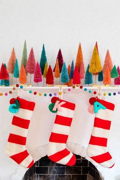 Ways To Use That Room Below Your Stairs Diy Felted Stripe Christmas Stockings Merry Little Christmas, Winter Christmas, Christmas Home, Vintage Christmas, Christmas Crafts, Christmas Decorations, Diy Christmas Stockings, Xmas, Whimsical Christmas