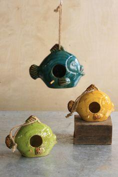ceramic fish bird house