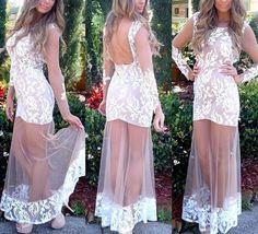 Fashion Round Neck Long-Sleeved Lace Dress