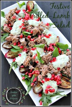Festive Pulled Lamb Salad with Tzatziki & Pomegranate {LCHF}