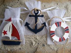 Nautical baby shower theme Favor bags Red, White and Blue 16  pieces via Etsy