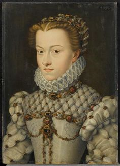 ELIZABETH OF AUSTRIA 1554-1592, Queen of France  PROVENANCE  after François Clouet ca. 1515-1572  Technique/Matière :  huile sur bois  0.370 m x 0.250 m. Chantilly, musée Condé PHOTO RMN
