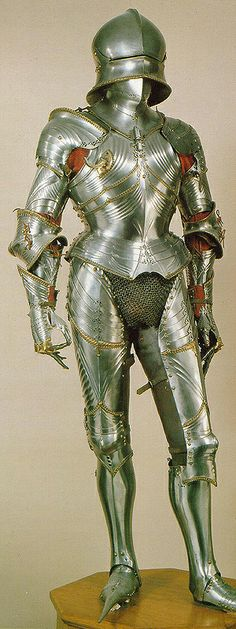 Late German Gothic period (approx. 1480) armour belonging to Duke Siegmund of Tyrol,  made by Lorenz Helmschmid of Augsburg. This armour represents the pinnacle of the armourers' art, and is typical of the late German Gothic style with its fluted surfaces and graceful lines. Kunsthistorisches Museum in Vienna.