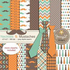 Necktie and Mustache Digital Papers Little by JennyLDesignsShop