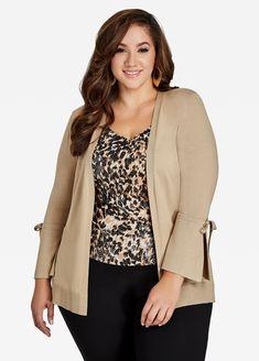 ce28dbfc79476 Long Bell Tie-Sleeve Knit Cardigan - Ashley Stewart Plus Size Sweaters