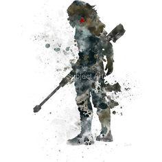Winter soldier inspired art print illustration superhero bucky